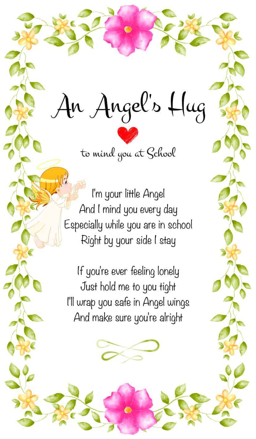 An Angel's Hug To mind you at school