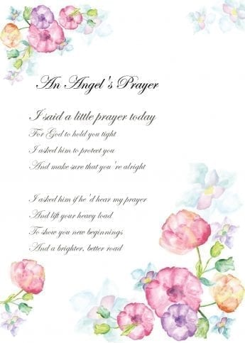 An Angel's Prayer Card for someone experiencing Difficulty
